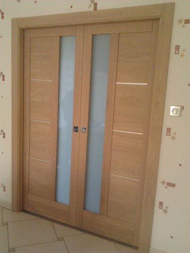 Menuiserie Figard - Fabrication sur mesure - Porte d'intérieur - Chêne blanchi vitrage opale- Vesoul