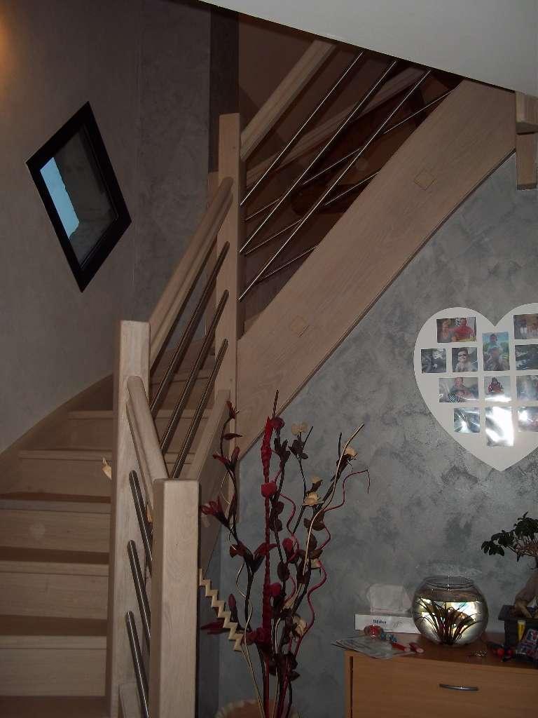Menuiserie Figard - Fabrication sur mesure - Escalier 1/4 - Chêne blanchi inox - Vesoul