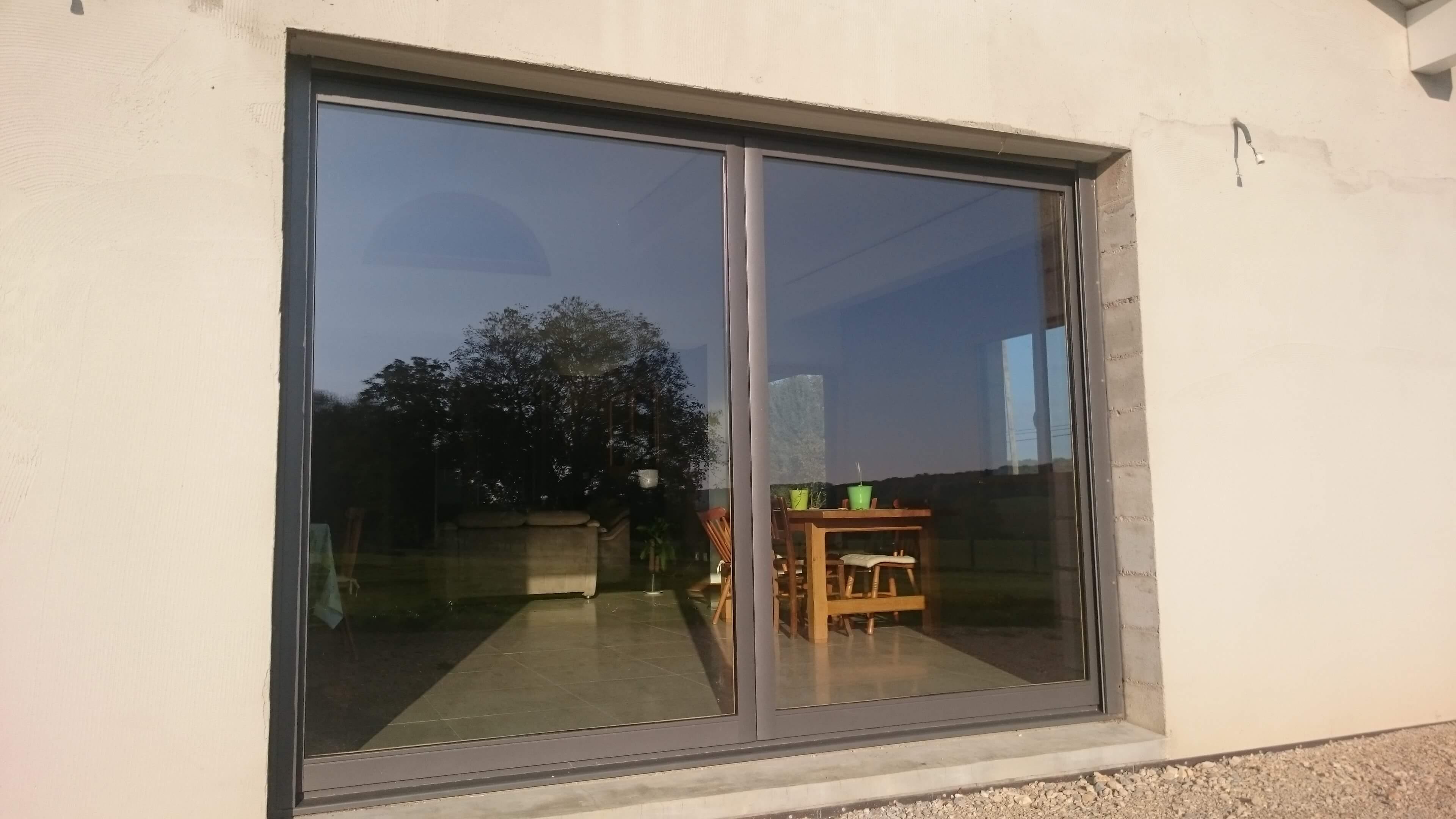 Menuiserie Figard - Fabrication sur mesure - Bais vitrée à galandage - Bois-aluminium - Vesoul